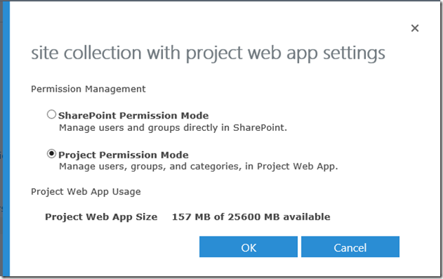 Change permission mode of Microsoft Project Online instance - Integent
