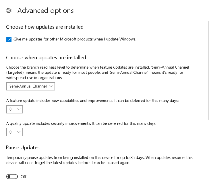 Microsoft Windows office update channel view